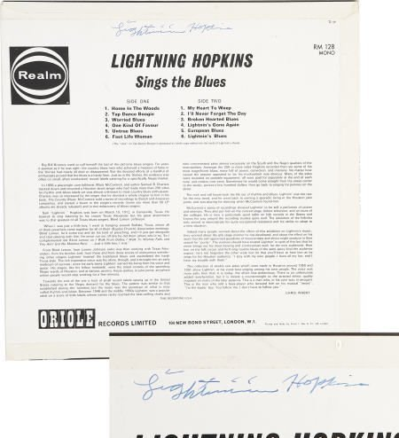50022: Lightnin' Hopkins Signed Album Cover