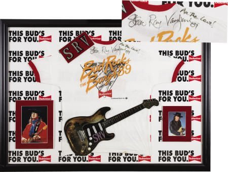 50066: Stevie Ray Vaughan Signed T-Shirt Display