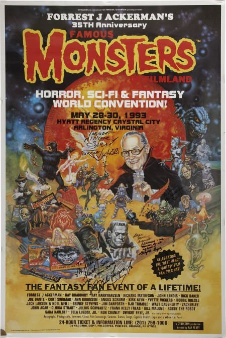 52001: Forrest Ackerman & Others Signed Famous Monsters