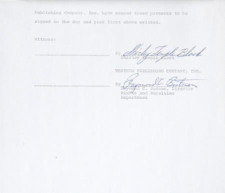 52004: Shirley Temple Black Signed Contract, 1975.