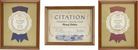 52011: Henry Calvin's Framed Awards