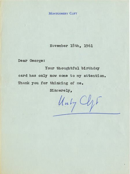 52014: Montgomery Clift Signed Letter.