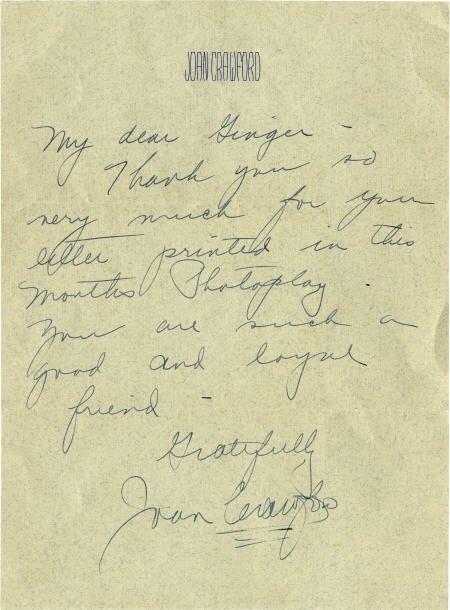 52023: Joan Crawford Signed Letter.