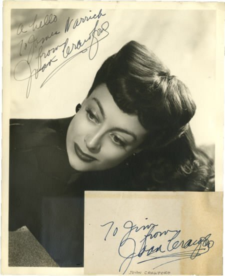 52024: Joan Crawford Signed Photo and Notecard.