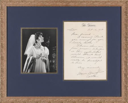 52300: Maria Callas Handwritten, Signed Letter (1958).