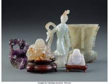 28318: A Group of Five Chinese Hardstone Carvings, earl