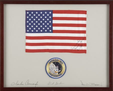 41002: Apollo 12 CM Flown Framed American Flag- Bean