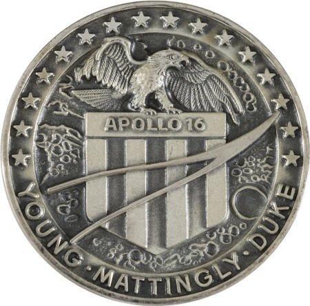 41003: Apollo 16 Unflown Silver Robbins Medallion- Bean