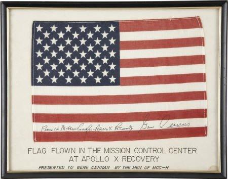 41018: Apollo 10 Mission Control Center Flown U.S. Flag