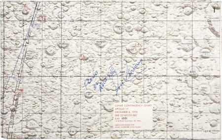41022: Apollo 17 CM Flown Lunar Contingency Map Cernan