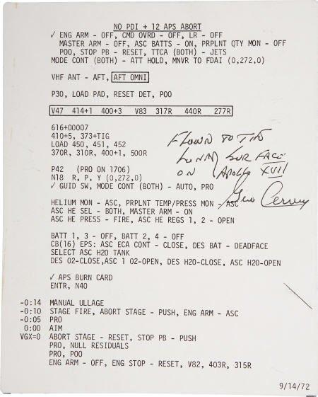 41024: Apollo 17 LM Flown Abort Checklist Card- Cernan