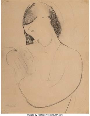 77003: Amedeo Modigliani (1884-1920) Busta di donna con
