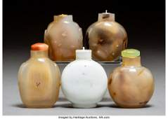78017: A Group of Five Chinese Hardstone and Porcelain
