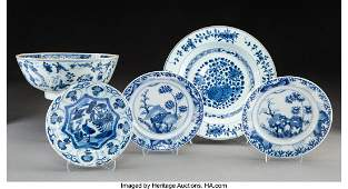 78102: A Group of Five Chinese Blue and White Porcelain