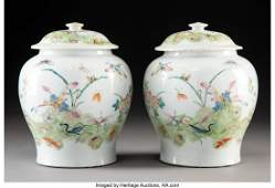 78527: A Pair of Chinese Famille Rose Porcelain Jars wi
