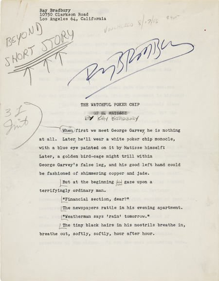 90021: Ray Bradbury. Watchful Poker Chip - Signed MS