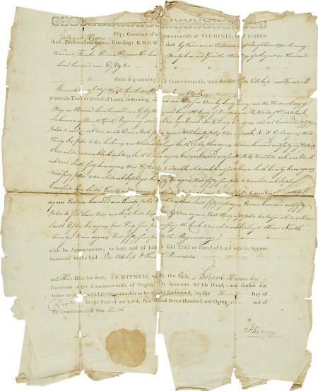 36003: Patrick Henry Virginia Land Grant Signed