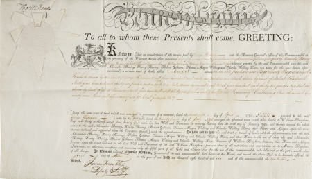 36005: Thomas McKean Signed Land Patent as Governor of