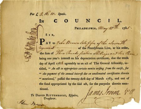 36015: Revolutionary War Pay Document.