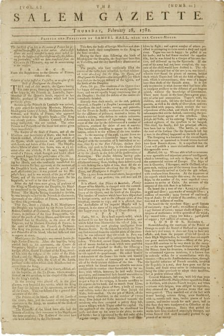 36018: Revolutionary War Newspaper,