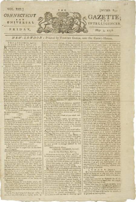 36019: Revolutionary War Newspaper