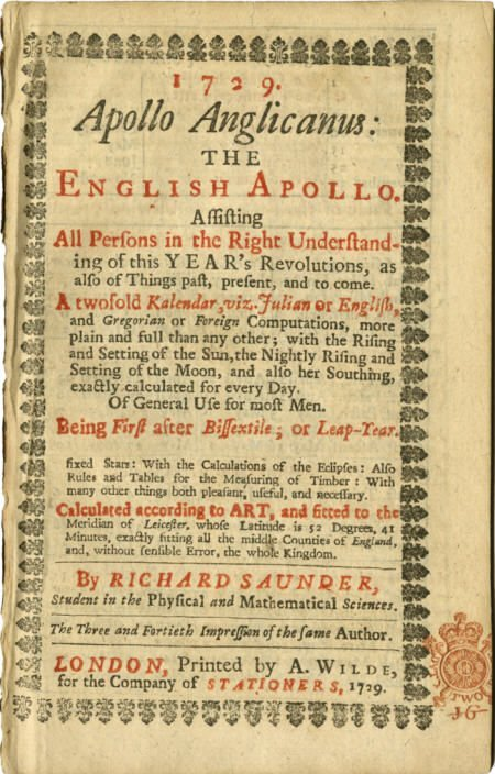 36021: Apollo Anglicanus: The English Apollo. 1729