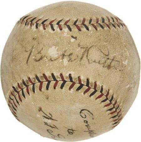 19582: Babe Ruth & Billy Southworth Signed Baseball.