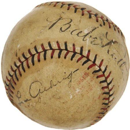 19585: 1927 Babe Ruth & Lou Gehrig Signed Baseball.