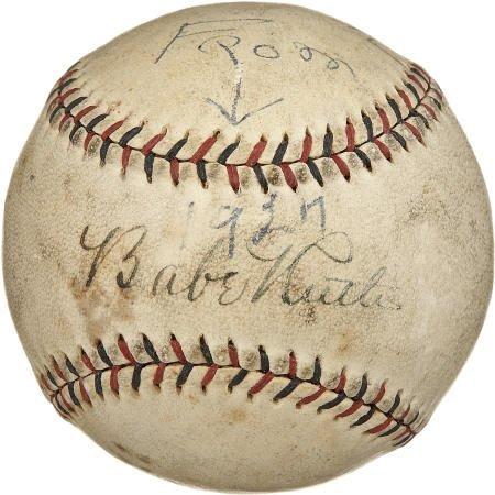 19586: 1927 Babe Ruth Single Signed Baseball.