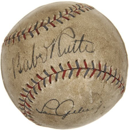 19587: Late 1920's Babe Ruth & Lou Gehrig Signed