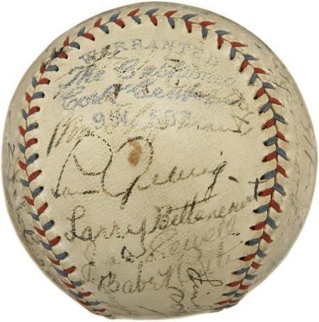19589: 1931 Babe Ruth, Lou Gehrig, More Signed Baseball