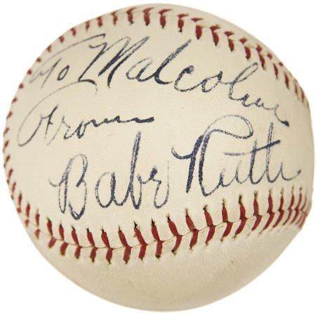 19594: Babe Ruth Single Signed Baseball, PSA NM-MT+ 8.5