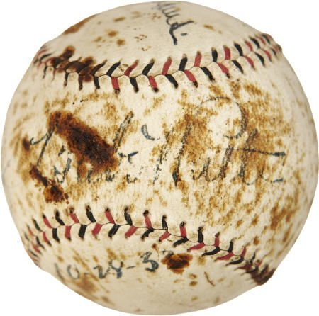 19597: Babe Ruth & Joe DiMaggio Dual Signed Baseball.