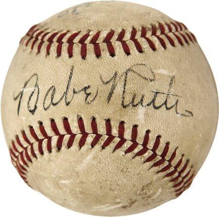 19598: 1940 Babe Ruth & Ty Cobb Signed Baseball.
