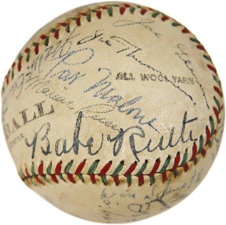19600: Babe Ruth, Foxx & DiMaggio Signed Baseball.