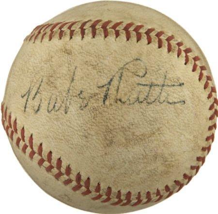 19602: 1940's Babe Ruth Single Signed Baseball.