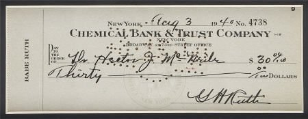 19649: 1940 Babe Ruth Signed Check.