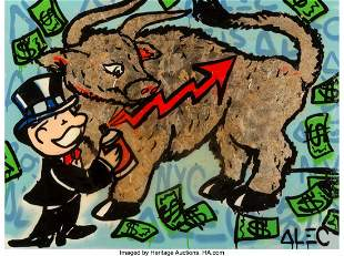 42145: Alec Monopoly (b. 1986) Gold Bull, circa 2015 Ac