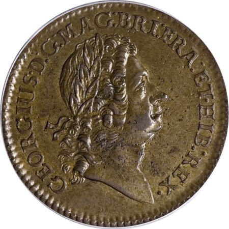 8: 1723 2PENCE Rosa Americana Twopence MS60 Brown