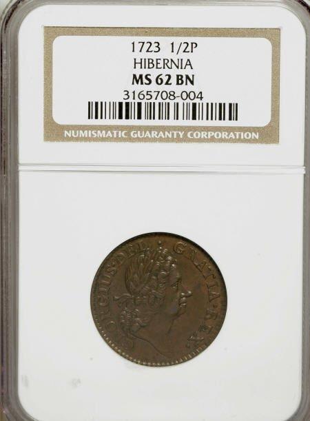 10: 1723 1/2P Hibernia Halfpenny MS62 Brown NGC.