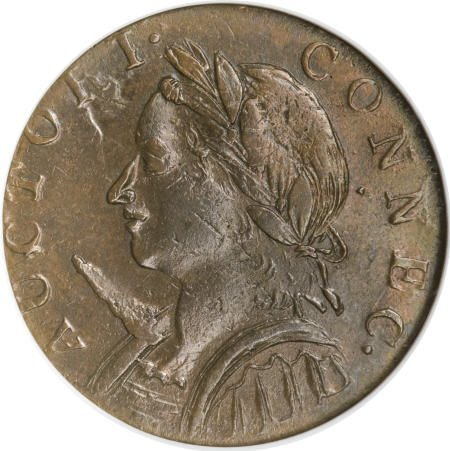 17: 1787 COPPER Connecticut Copper, Horned Bust MS62