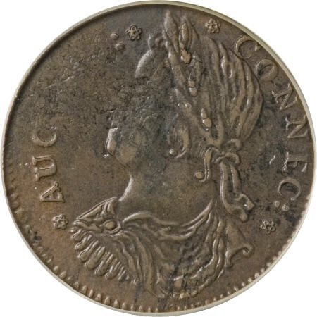 18: 1787 COPPER Connecticut Copper, ETLIR AU53 PCGS.