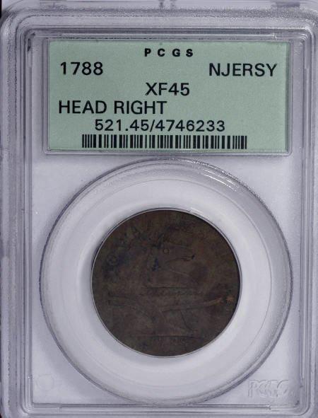 23: 1788 COPPER New Jersey Copper, Head Right XF45