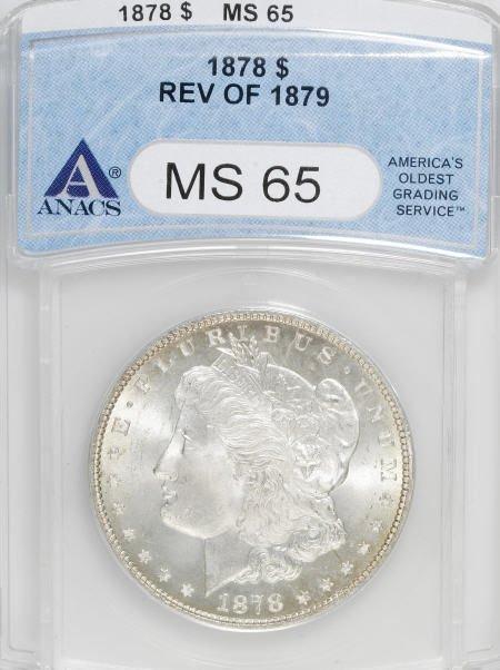 1163: 1878 7TF $1 Reverse of 1879 MS65 ANACS.
