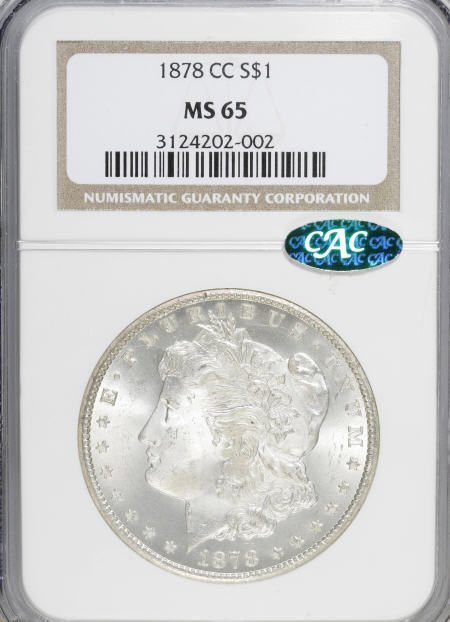 1164: 1878-CC $1 MS65 NGC. CAC.