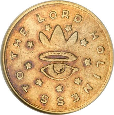 2521: 1850 $5 Mormon Five Dollar AU58 NGC.