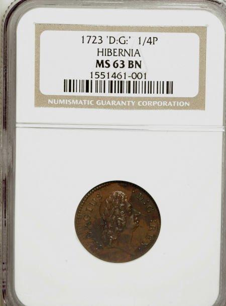 7002: 1723 FARTH Hibernia Farthing, DEI GRATIA MS63 Bro