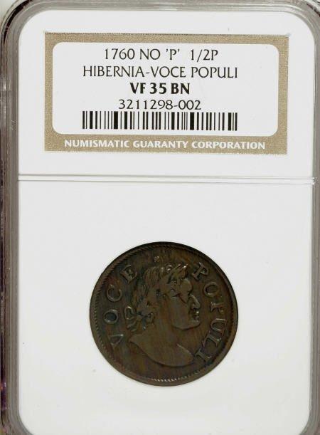 7006: 1760 1/2P Hibernia-Voce Populi Halfpenny VF35