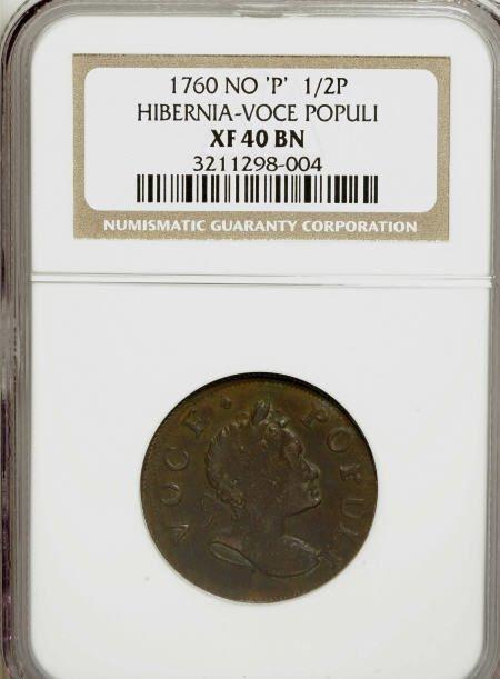 7007: 1760 1/2P Hibernia-Voce Populi Halfpenny XF40
