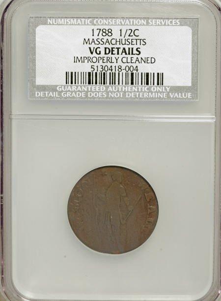 7011: 1788 1/2 C Massachusetts Half Cent--Improperly